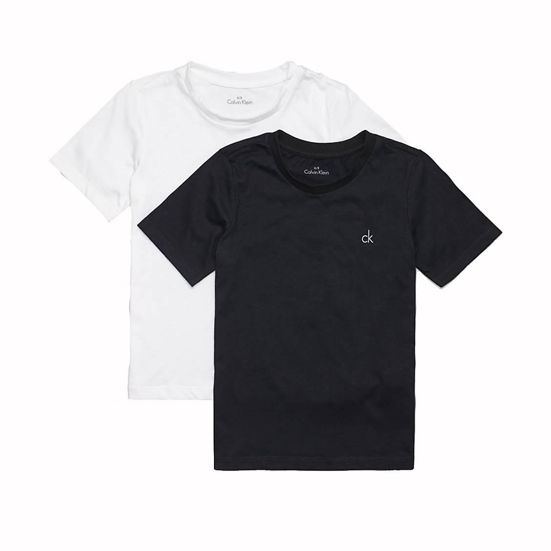 Lot de 2 tee-shirts col rond  en coton blanc et noir
