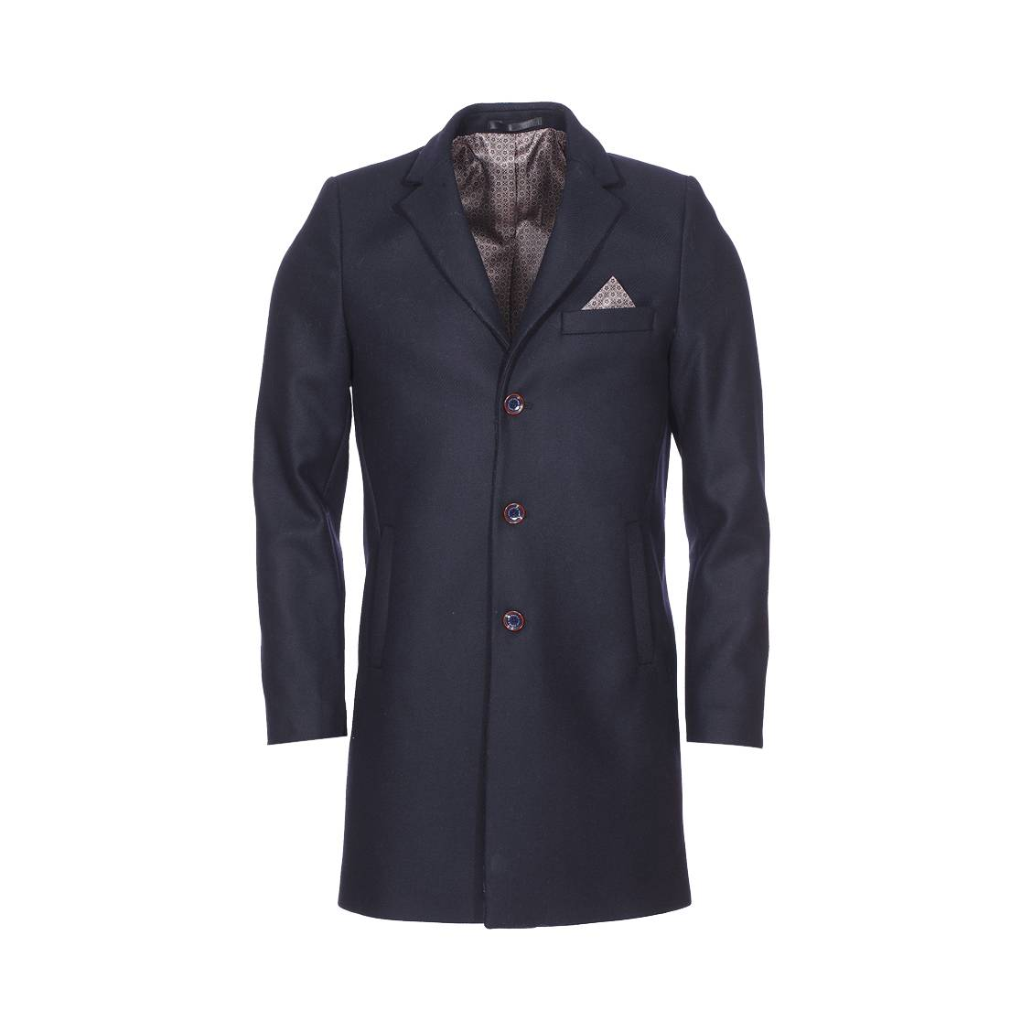2a996360f6874 Manteau Izac bleu marine avec mouchoir de poche à motif bleu marine et  beige ...