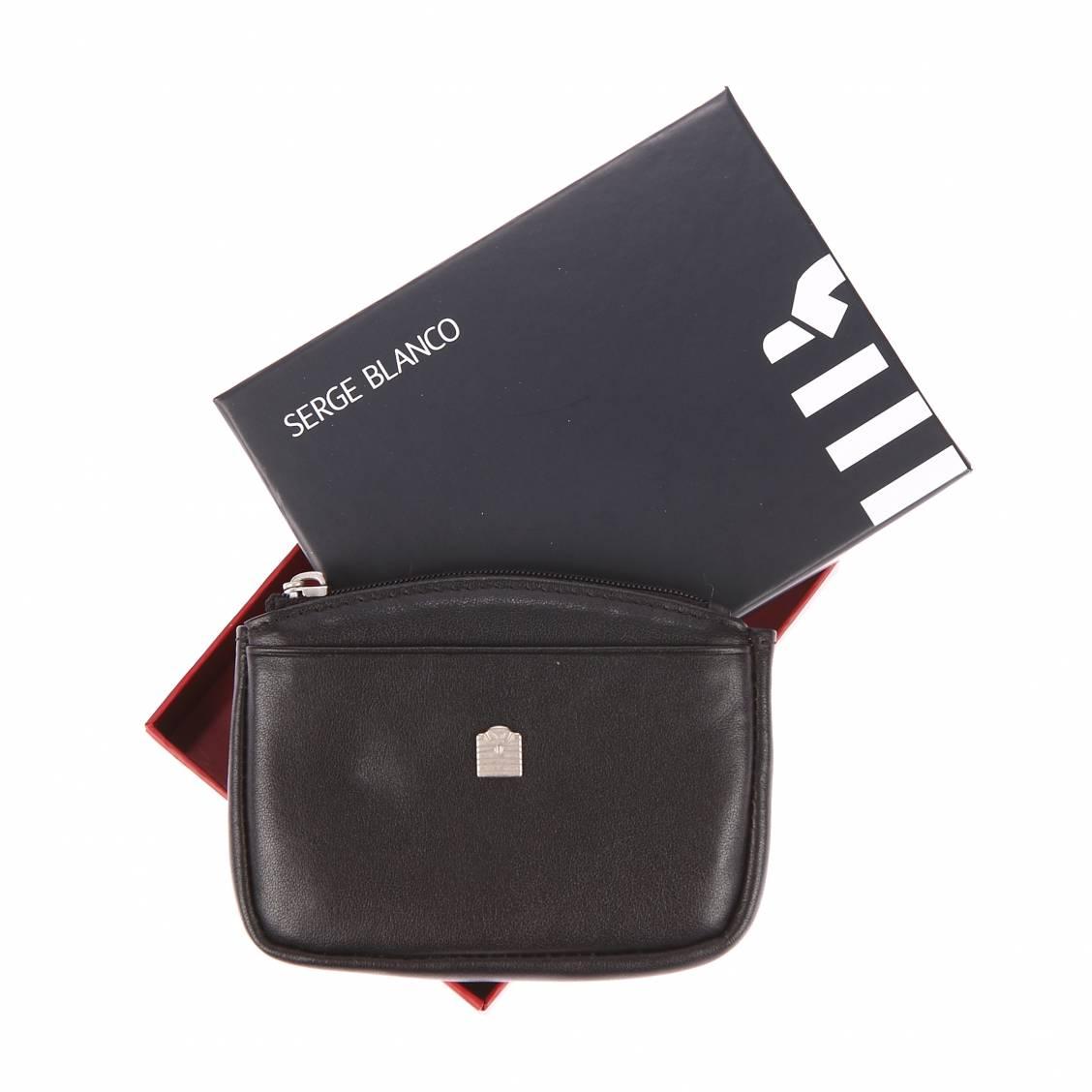 meilleur service c9649 078eb Porte-monnaie zippé Serge Blanco en cuir noir | Rue Des Hommes