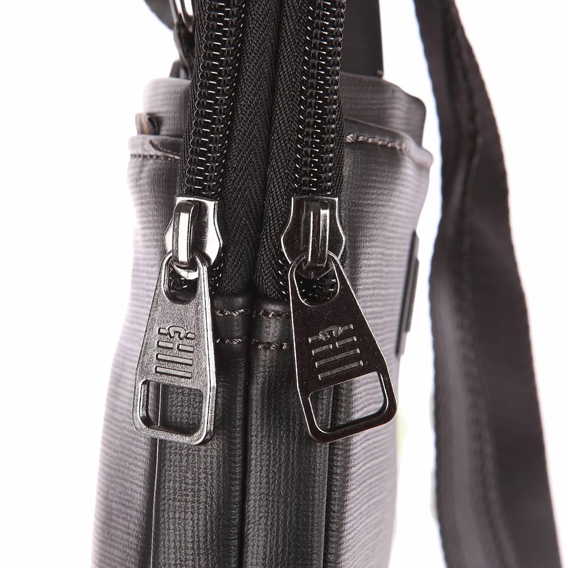 Petite sacoche zippée porté croisé Serge Blanco noire à double compartiment 74aQsSiF4