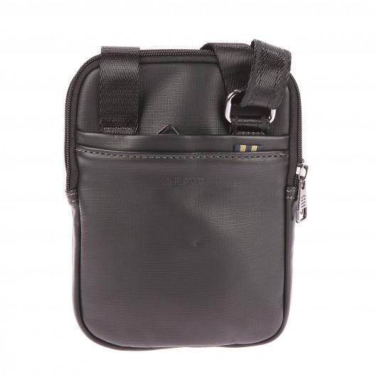 Petite sacoche zippée porté croisé Serge Blanco noire à double compartiment mDTsH9CaK