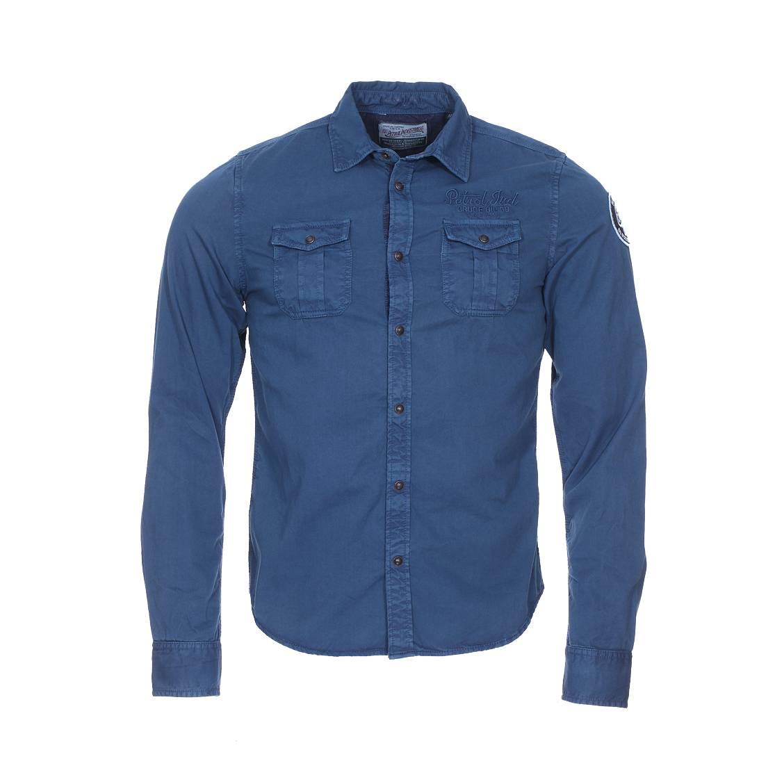 Chemise  en coton bleu pétrole à poches