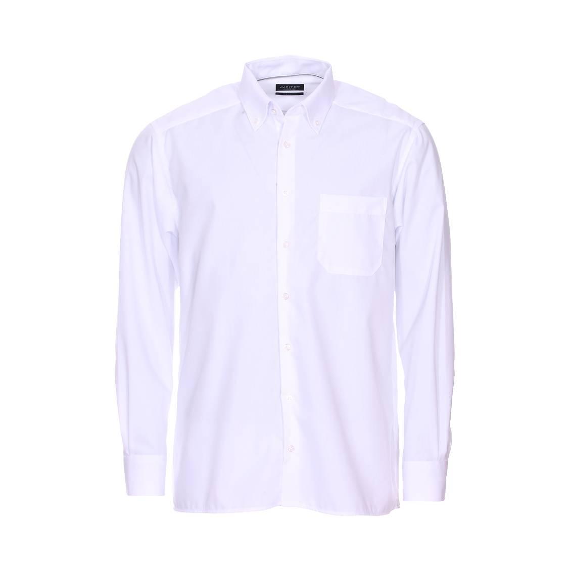 Chemise droite noblesse  en coton blanc à col américain