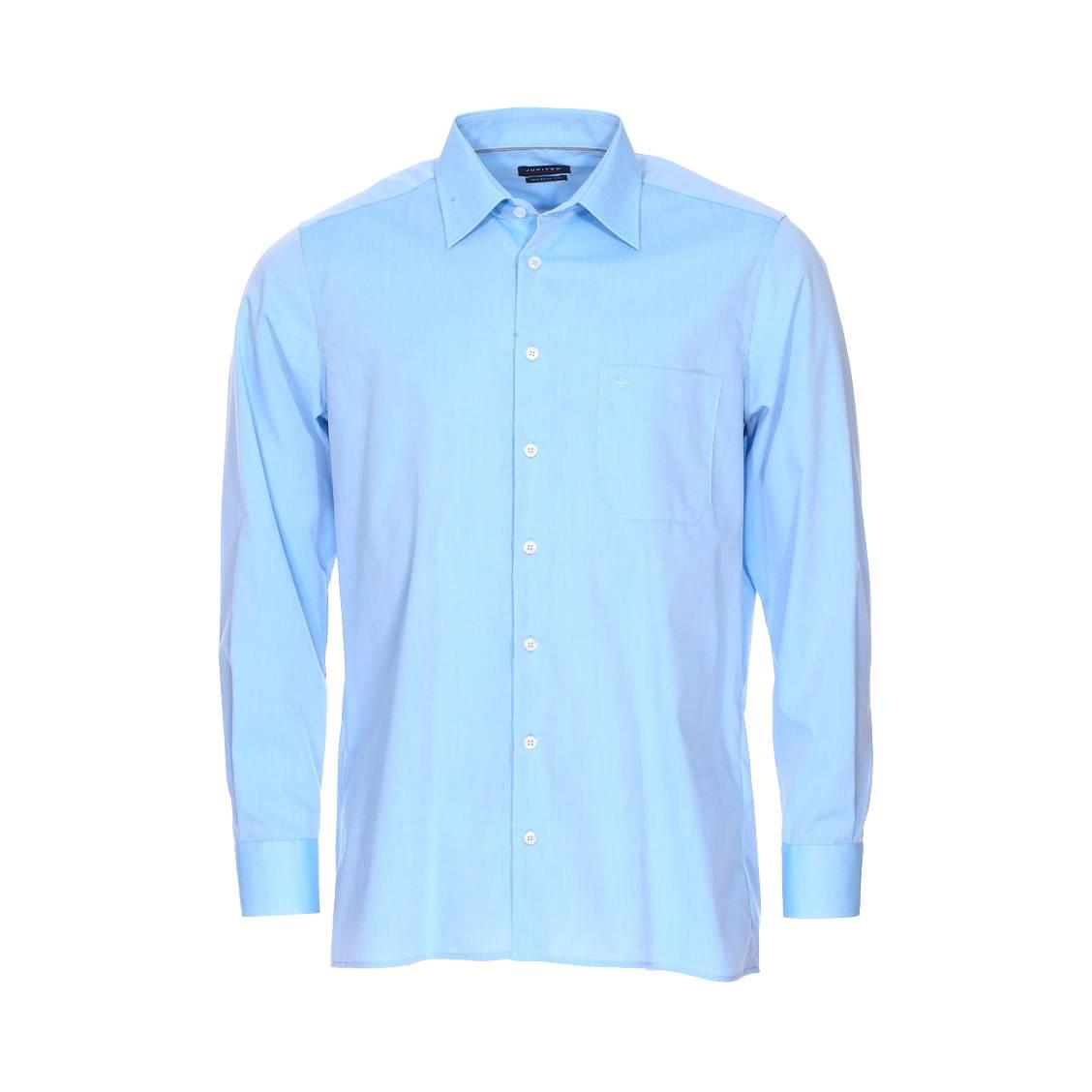 Chemise cintrée noblesse  en coton bleu ciel