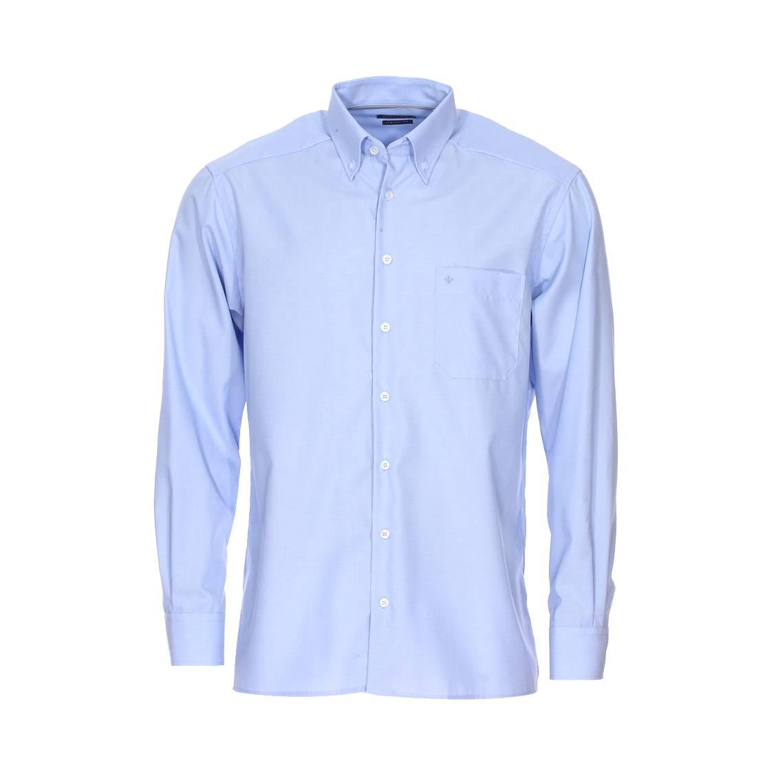 Chemise droite noblesse  en coton bleu chiné à col américain