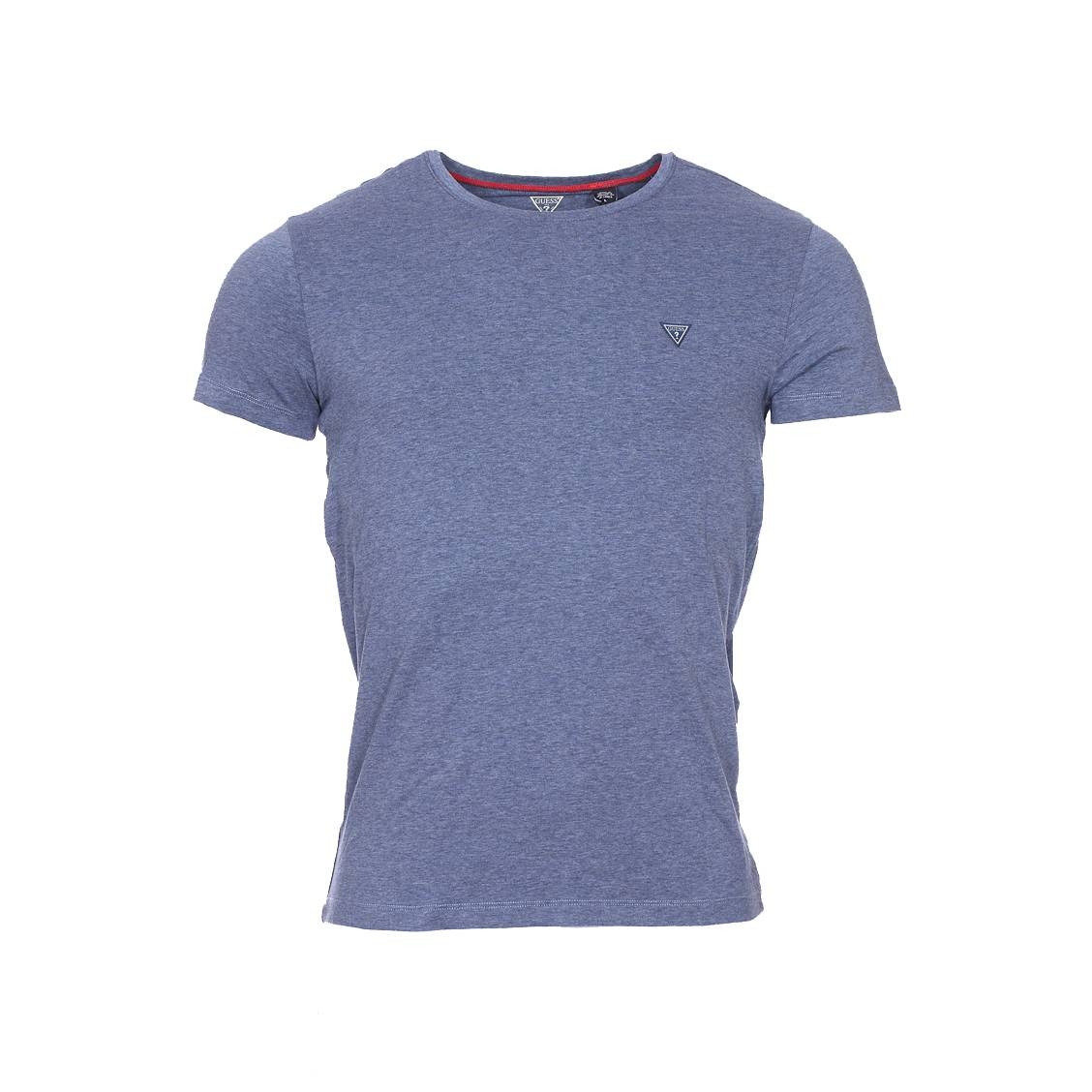 Tee-shirt col rond guess en coton stretch bleu chiné