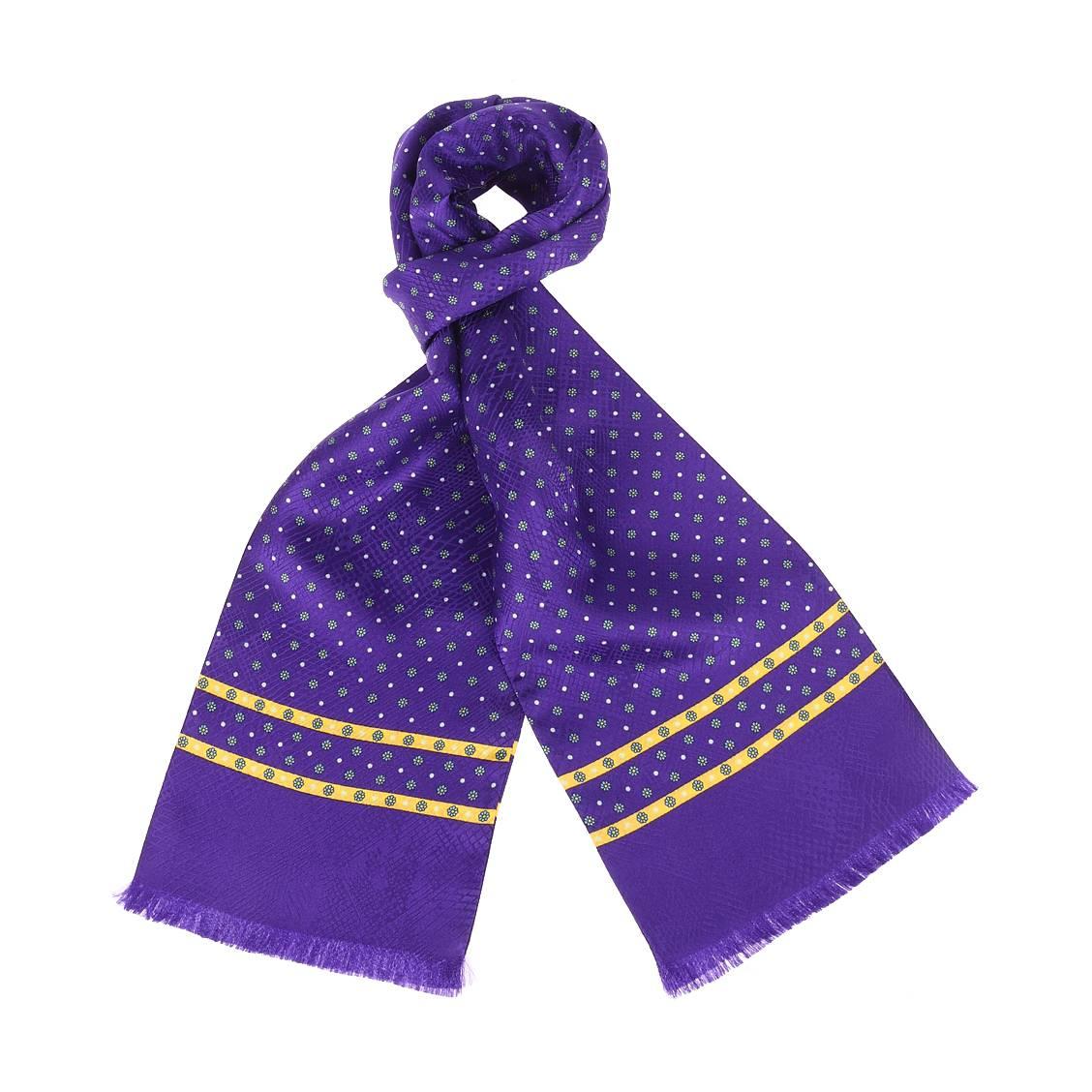 Echarpe en soie  violette à fleurs