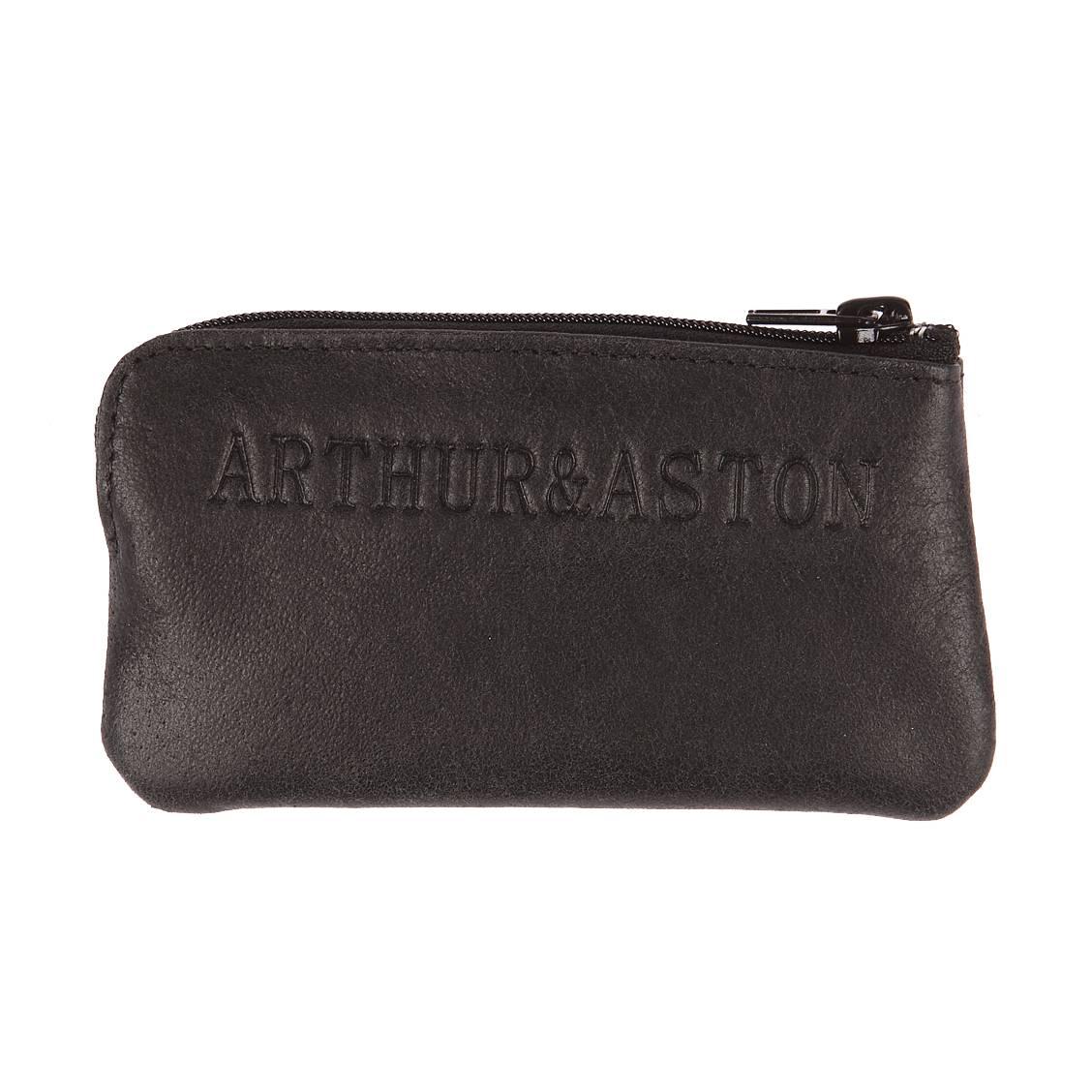 Porte monnaie zipp arthur aston en cuir noir rue des hommes - Porte monnaie arthur et aston ...