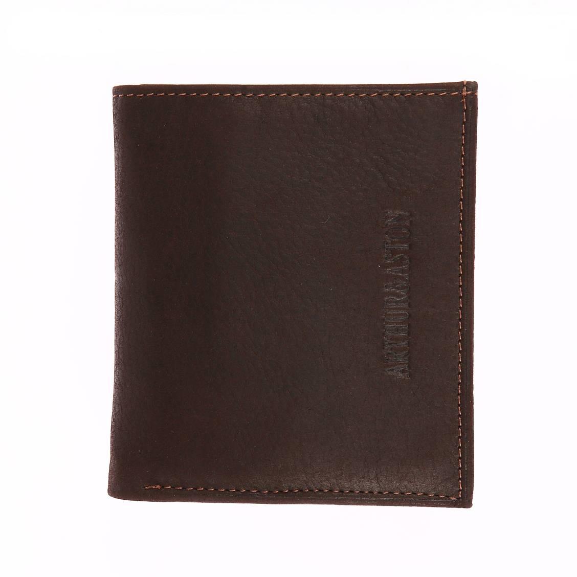 Petit portefeuille européen 2 volets arthur & aston en cuir marron