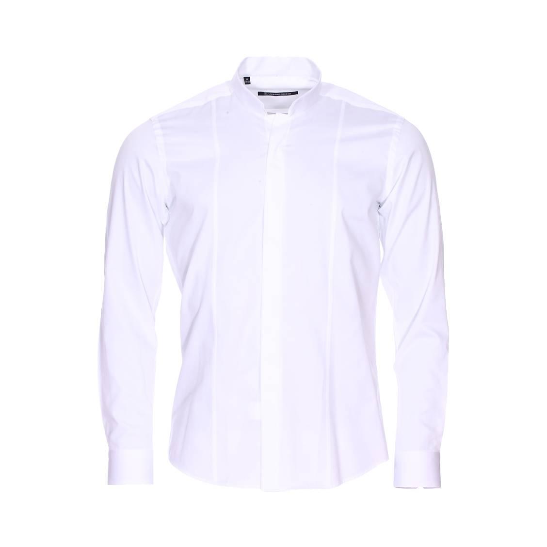 chemise cintr e gianni ferrucci en coton blanc col invers rue des hommes. Black Bedroom Furniture Sets. Home Design Ideas