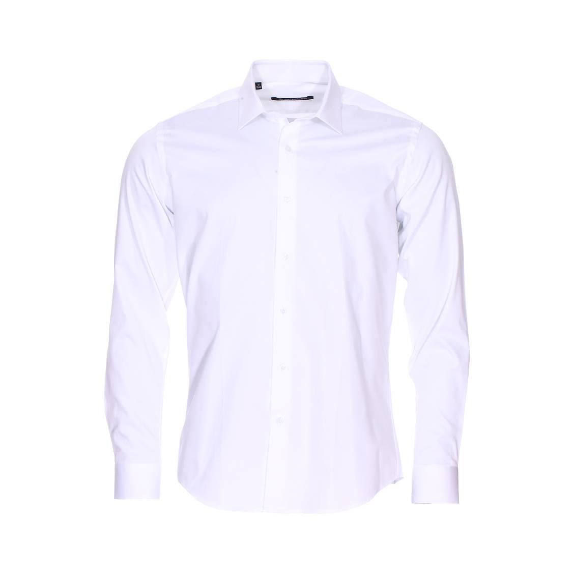 Chemise cintrée  en coton blanc à col simple