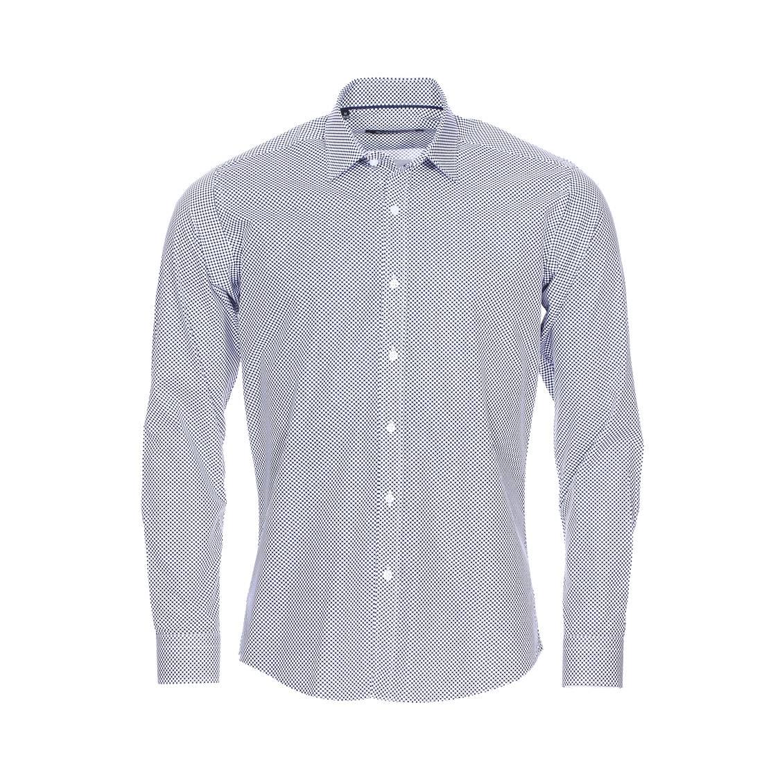 Chemise cintrée  en coton bleu marine à pois blancs