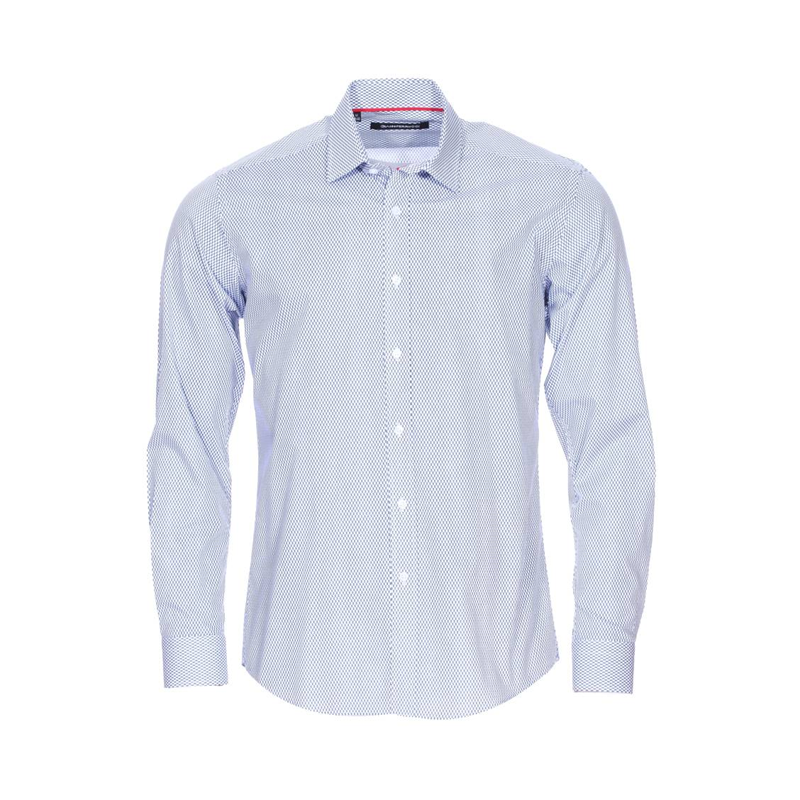 Chemise cintrée  en coton bleu marine à motifs indigo et blancs