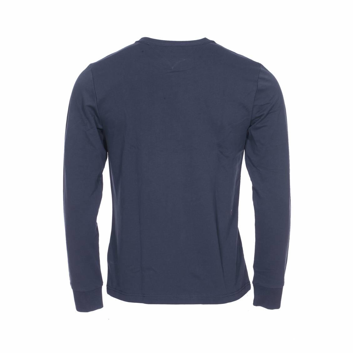 9f8b3f27880a ... Tee-shirt épais manches longues col rond Tommy Hilfiger Allen en coton  bleu marine brodé