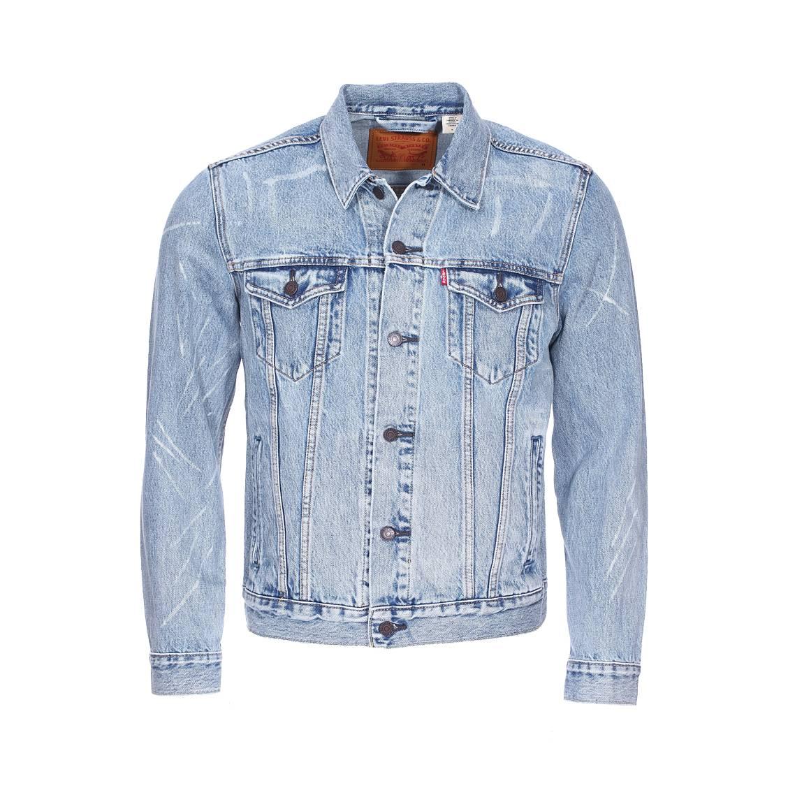 veste trucker levi 39 s rolled up dollar en coton m lang bleu jean rue des hommes. Black Bedroom Furniture Sets. Home Design Ideas