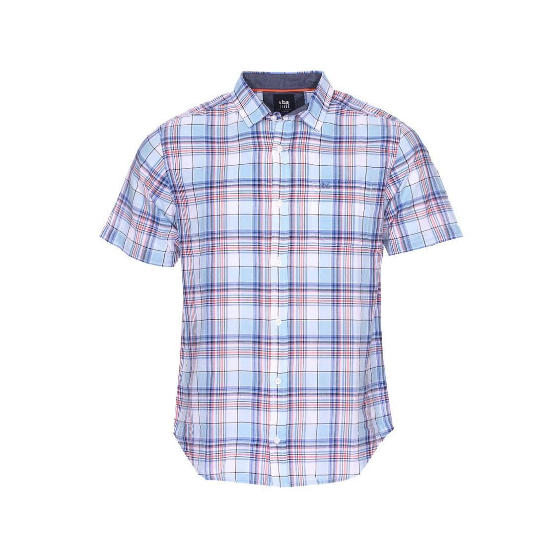 Chemise manches courtes cintrée  irochemi en coton léger bleu ciel à carreaux rouges, noirs, bleu indigo et blancs