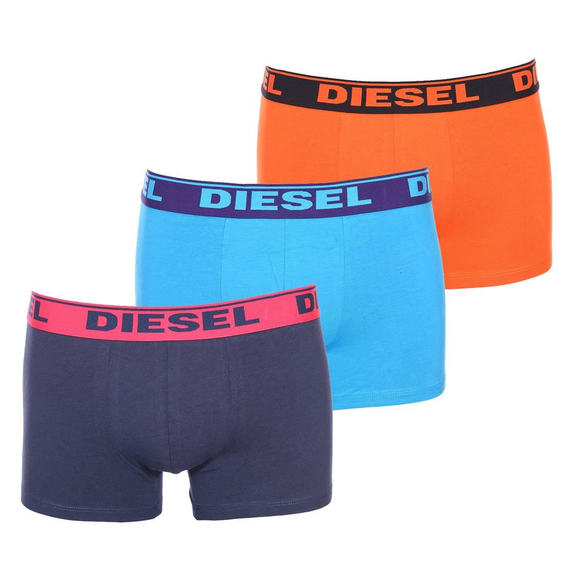 Lot de 3 boxers diesel en coton stretch bleu marine, bleu turquoise et orange