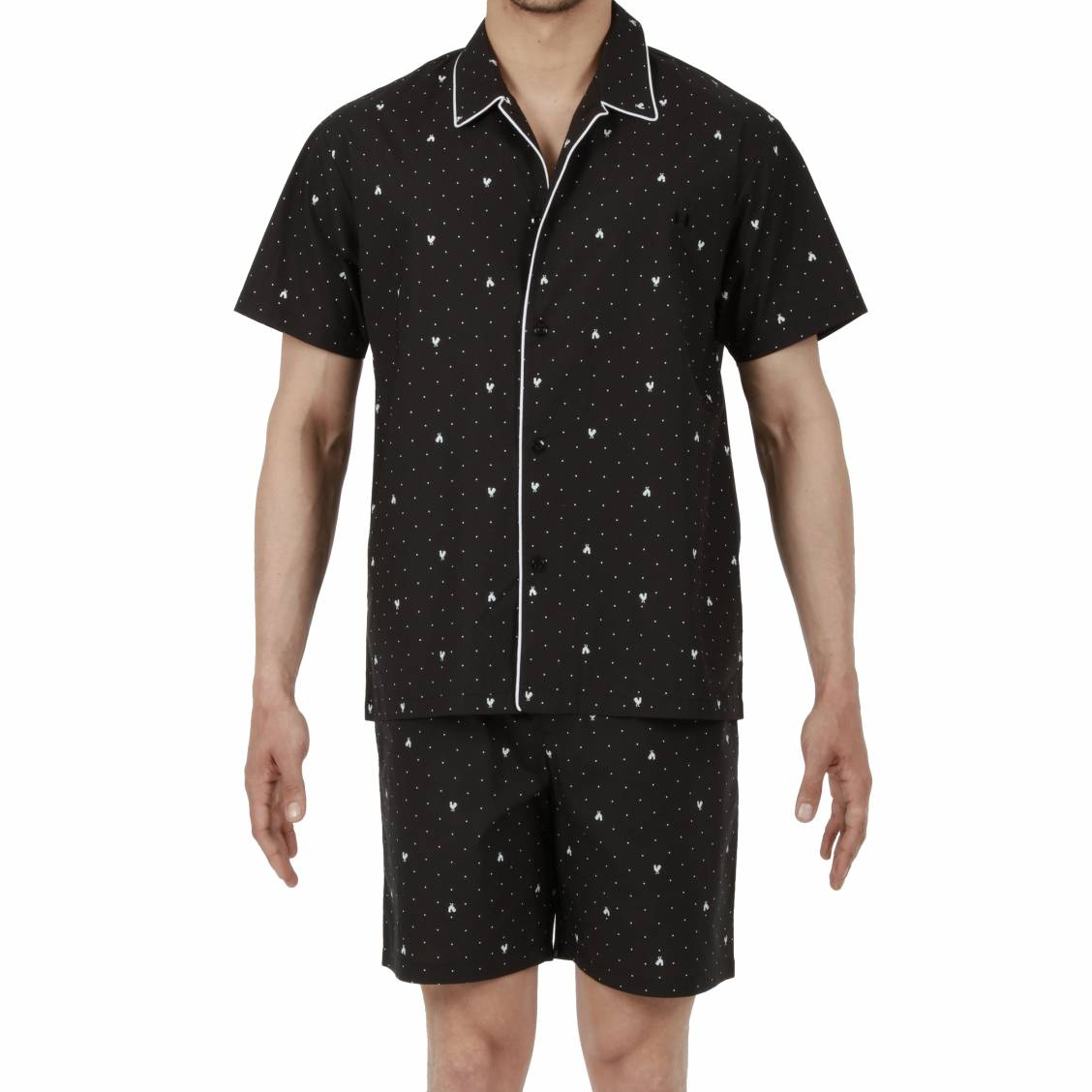 pyjama court hom frenchy en coton veste manches courtes. Black Bedroom Furniture Sets. Home Design Ideas