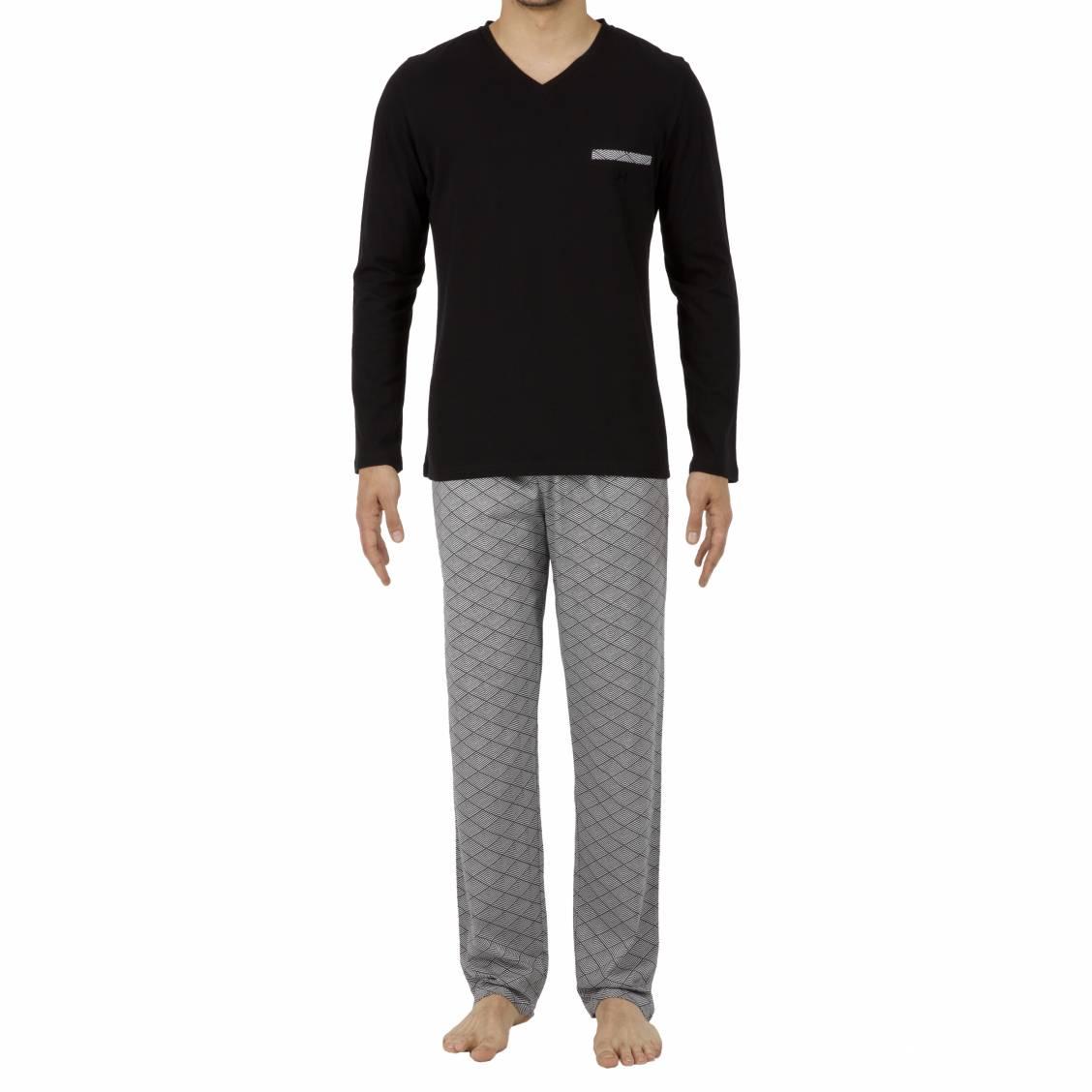 Pyjama long Hom Kaleido en coton : tee-shirt manches longues col rond noir et pantalon à motifs chevrons noirs et blancs