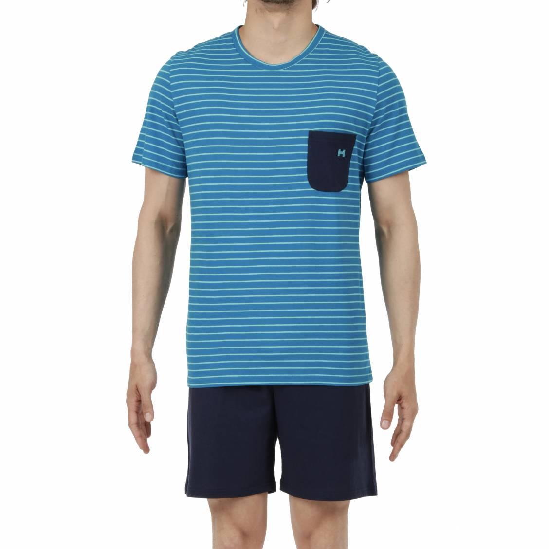 3ab7e14521 Pyjama court Hom Pop en coton : tee-shirt col rond à rayures bleu turquoise