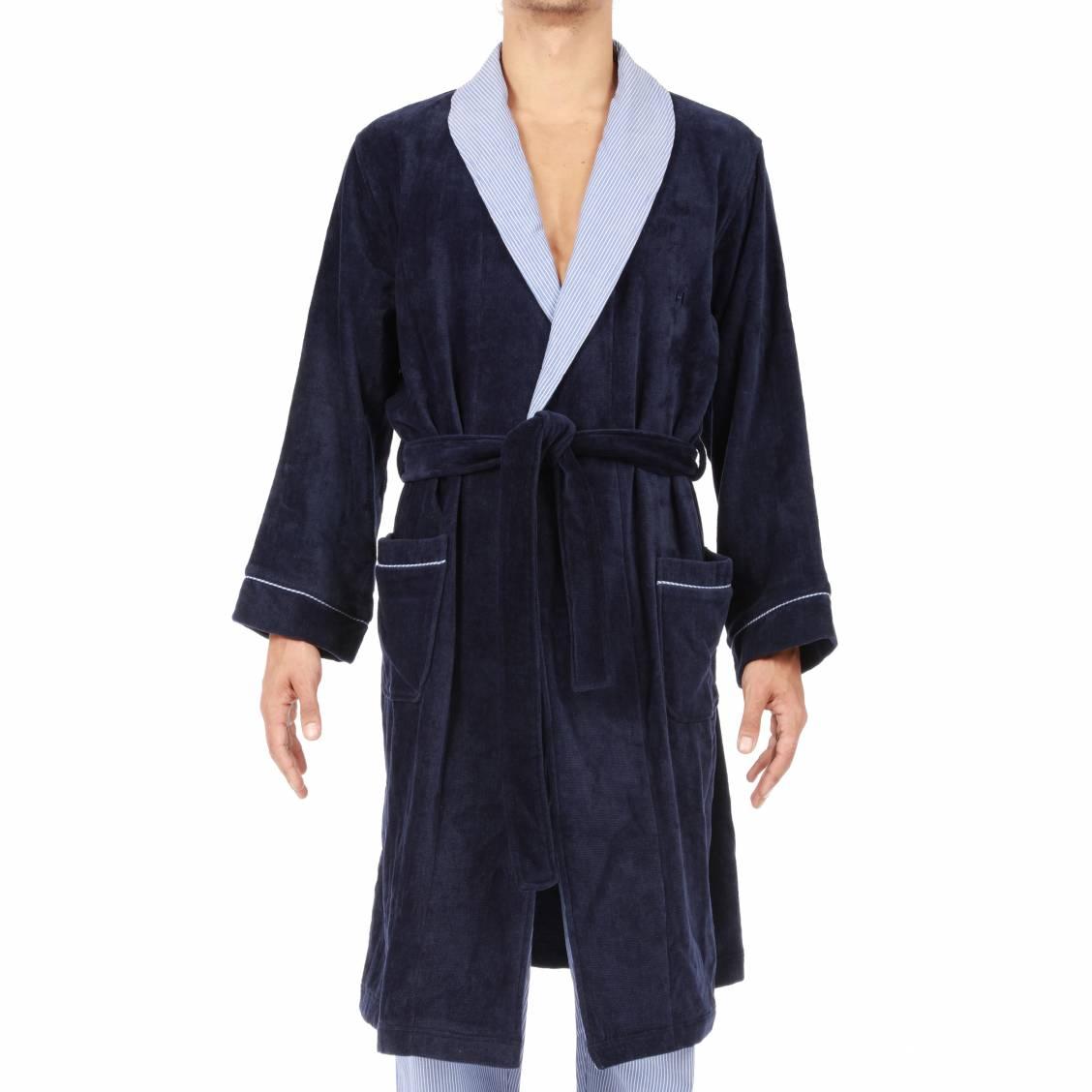 Peignoir Hom Beatnick bleu marine à col châle contrasté