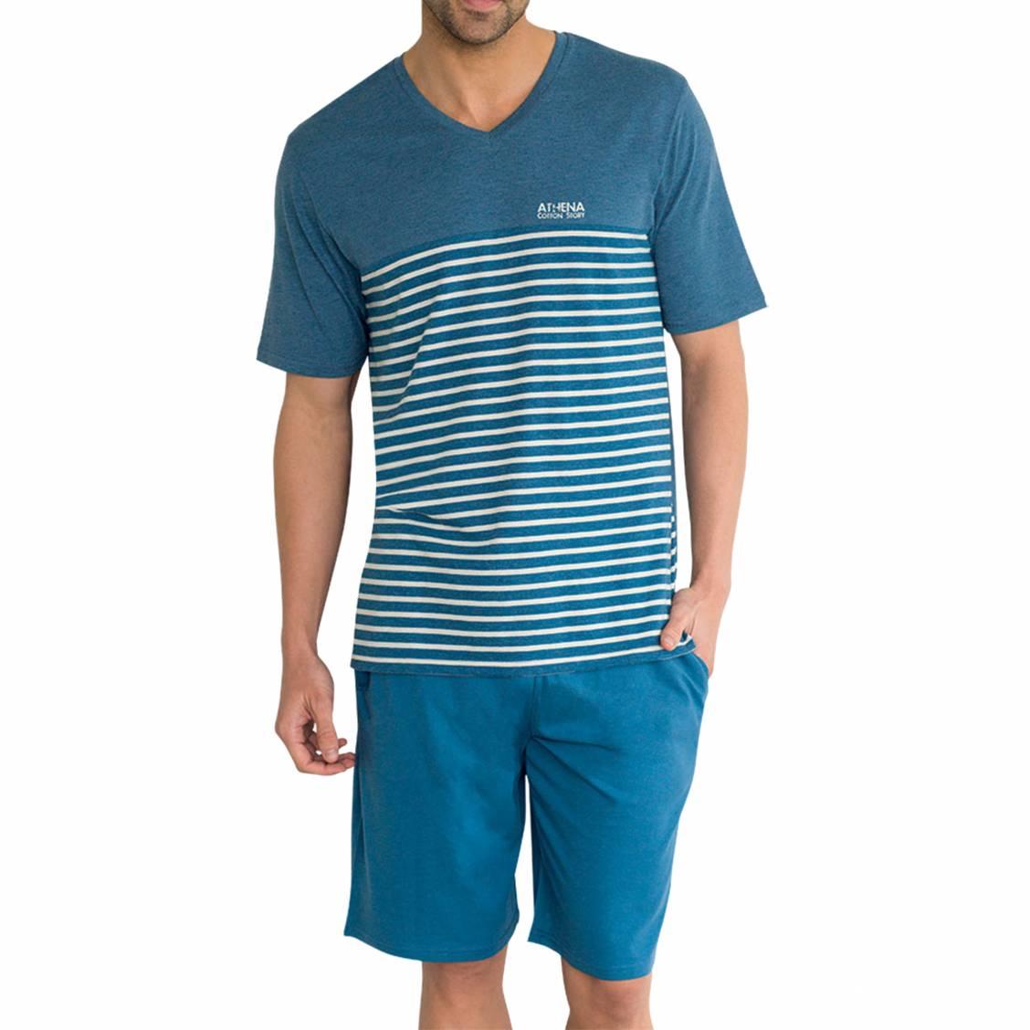 Pyjama court Athena en coton mélangé : tee-shirt col V bleu chiné à rayures blanches et short bleu encre