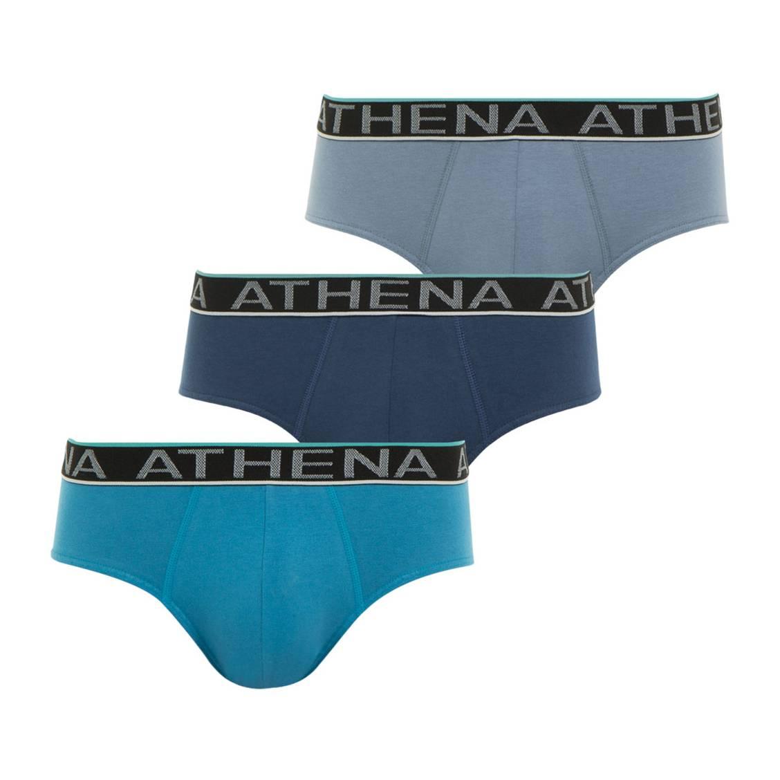 Lot de 3 slips Athena en jersey de coton stretch bleu turquoise, bleu marine et bleu grisé à ceinture noire brodée à bandes colorées