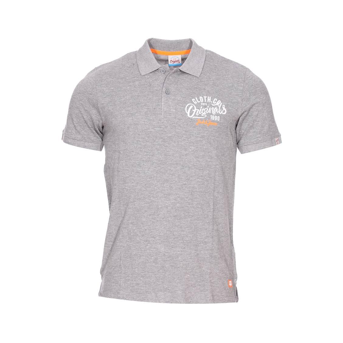 Polo Jack Jones en coton mélangé gris chiné brodé en orange et blanc ... 81cf8329ac5a