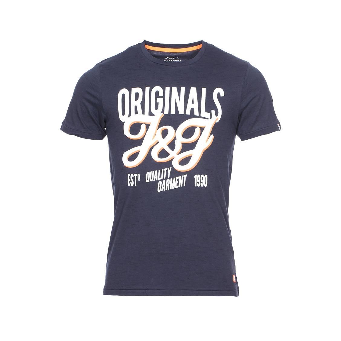 Tee-shirt col rond Jack Jones en coton mélangé bleu marine flammé floqué ... 8edda26103ff