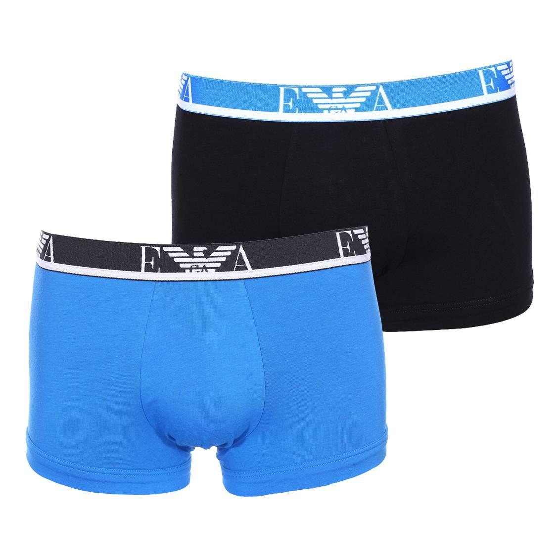 Lot de 2 boxers  en coton stretch noir à ceinture bleue et bleu roi à ceinture noire