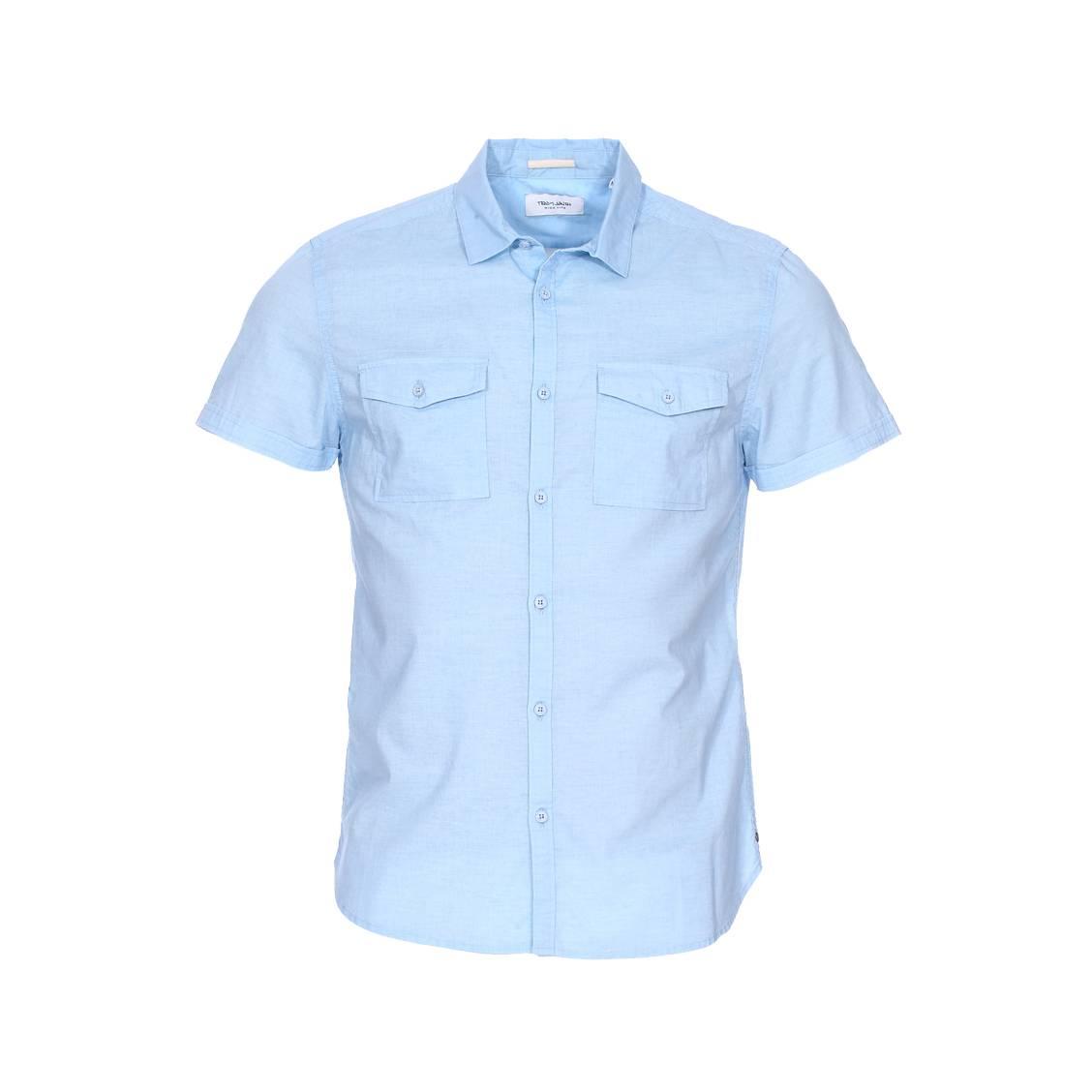 Chemise manches courtes  cong en coton bleu ciel