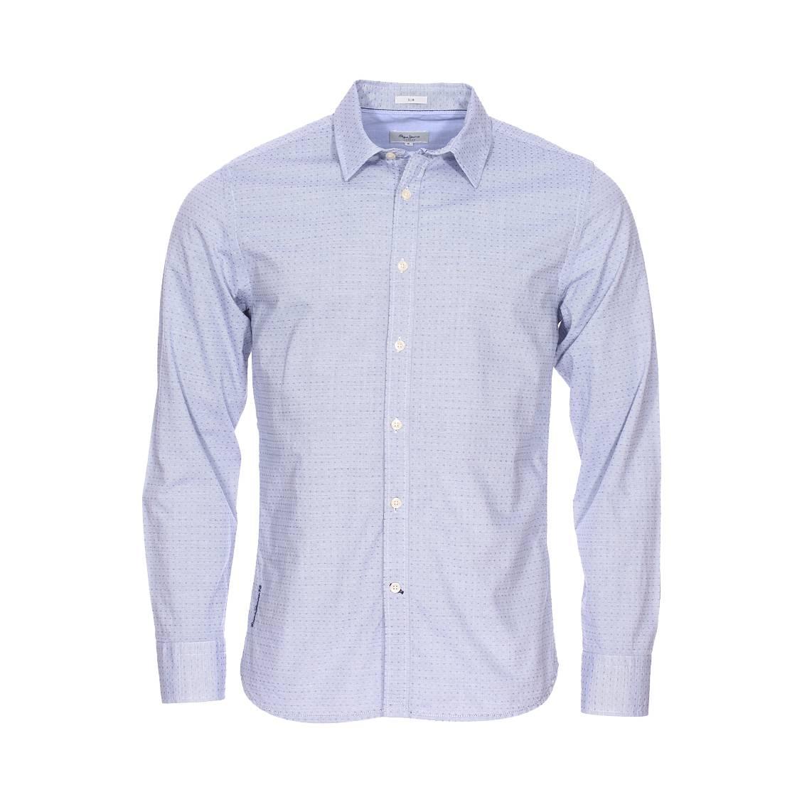 Chemise cintrée  ringo en coton bleu à fines rayures blanches et à pois bleus