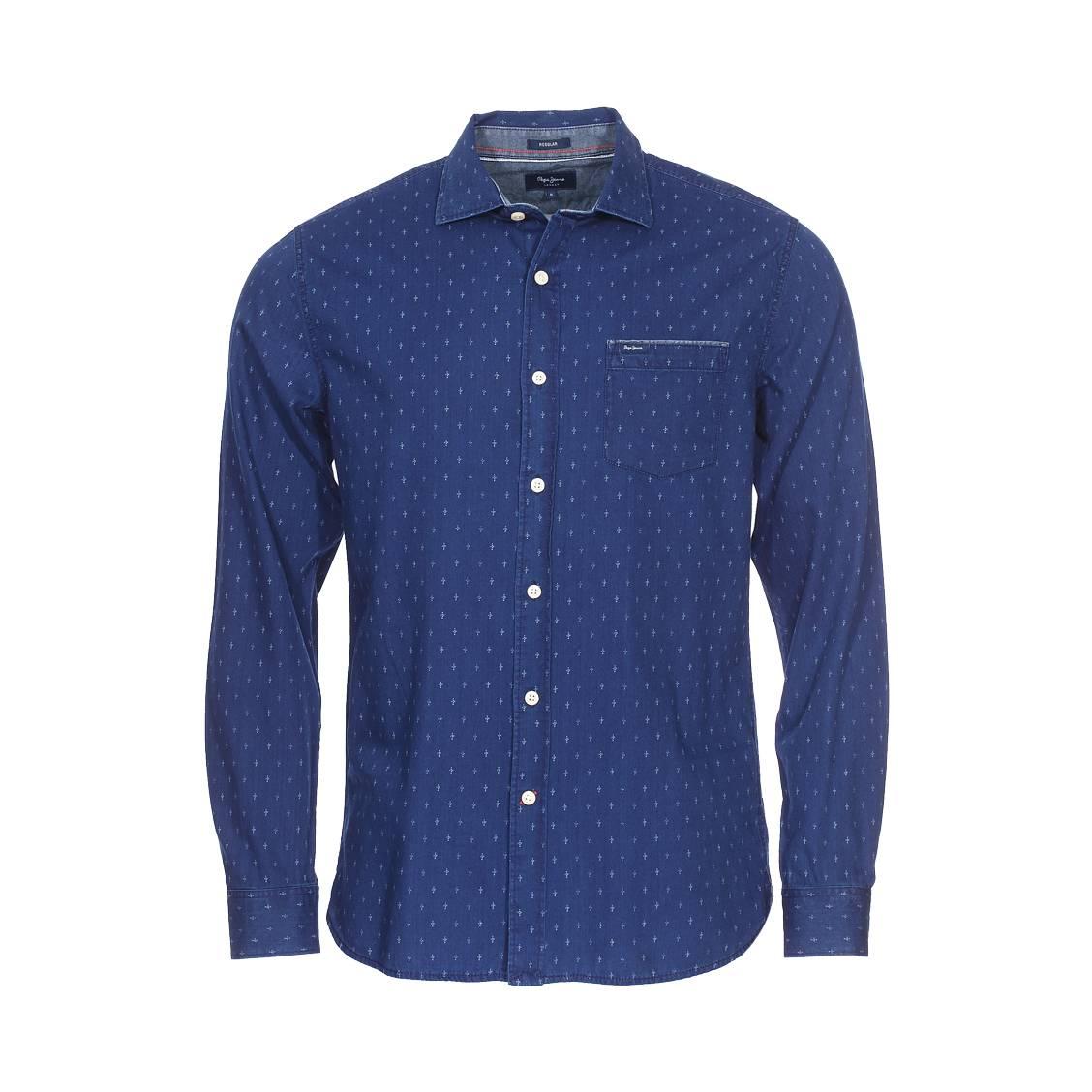 Chemise droite  baily en coton bleu indigo à motifs