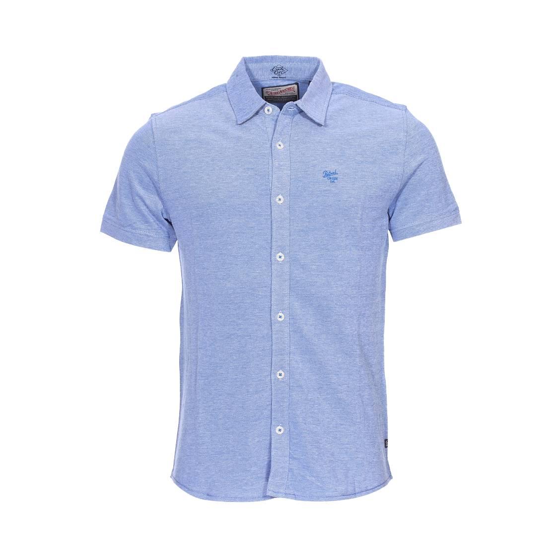 Chemise manches courtes  en mailles bleu indigo chiné