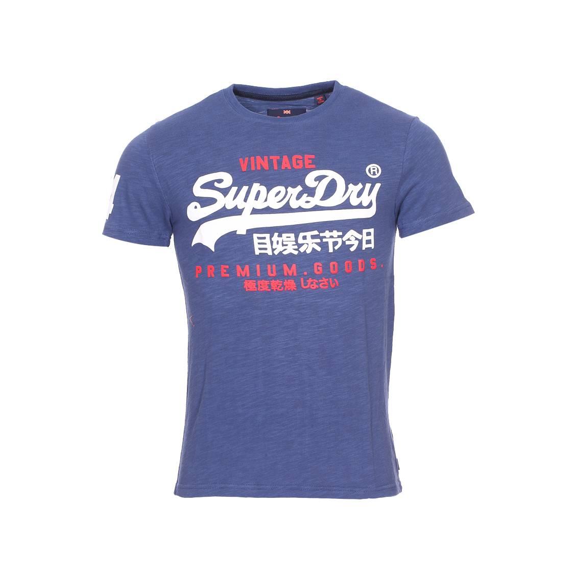 49b6fcda5f1b Tee-shirt col rond Superdry Premium Goods en coton flammé bleu indigo  floqué ...