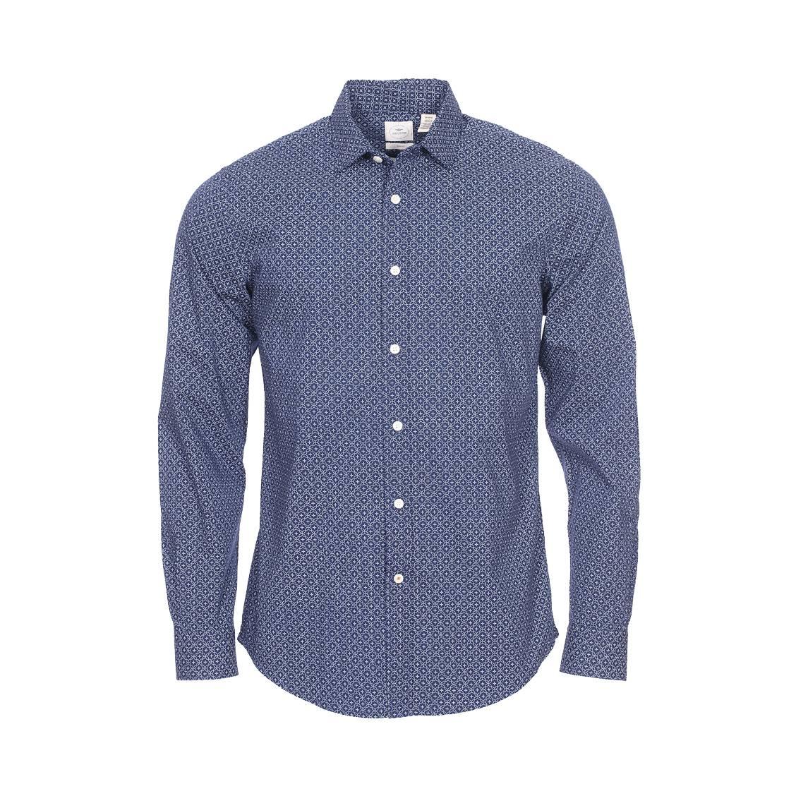 Chemise cintrée  refined poplin borders en coton stretch bleu marine à motifs blancs