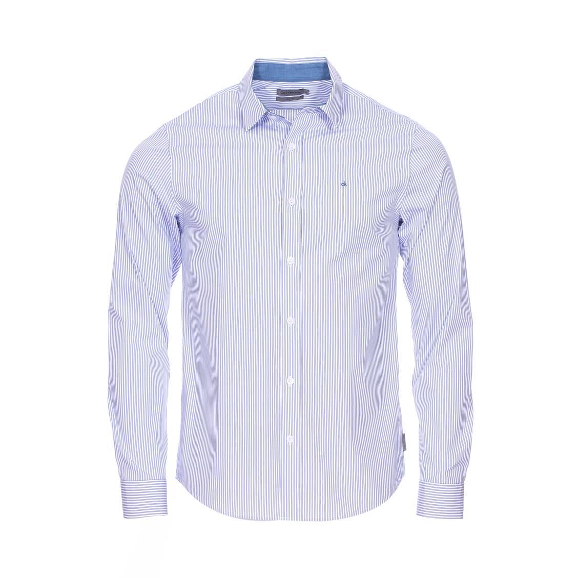 Chemise cintrée  wilbert en coton stretch à rayures bleues et blanches