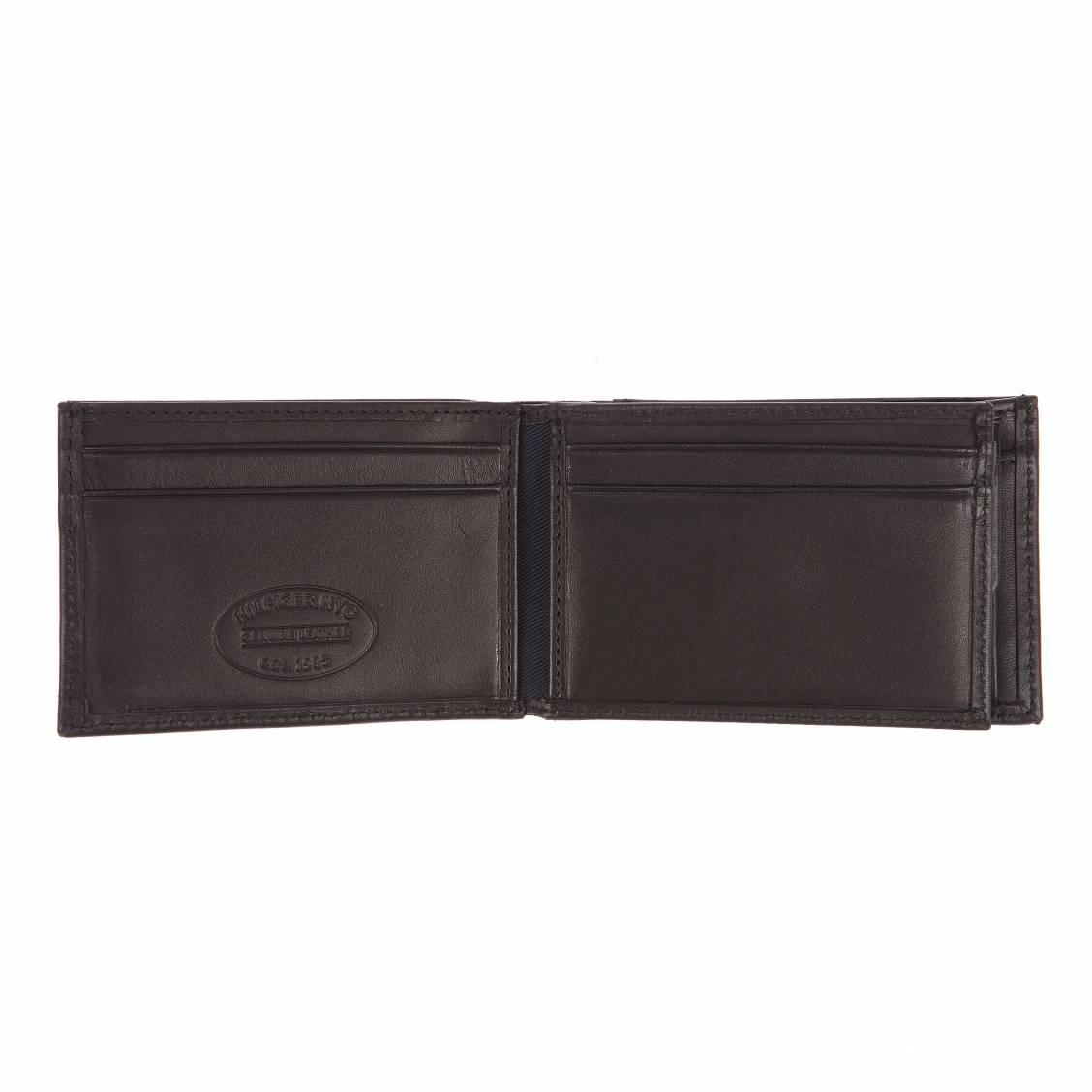 Portefeuille italien Eton Tommy Hilfiger à 2 volets et porte-monnaie en cuir lisse noir WBdnvyv