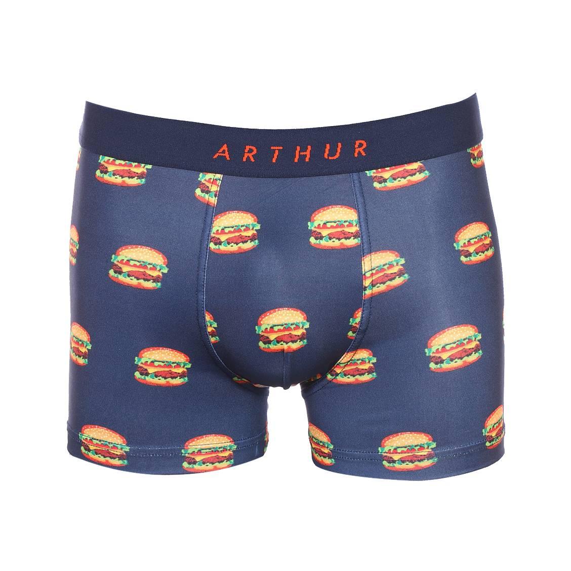 Boxer  macburger en coton stretch bleu marine à motifs burgers