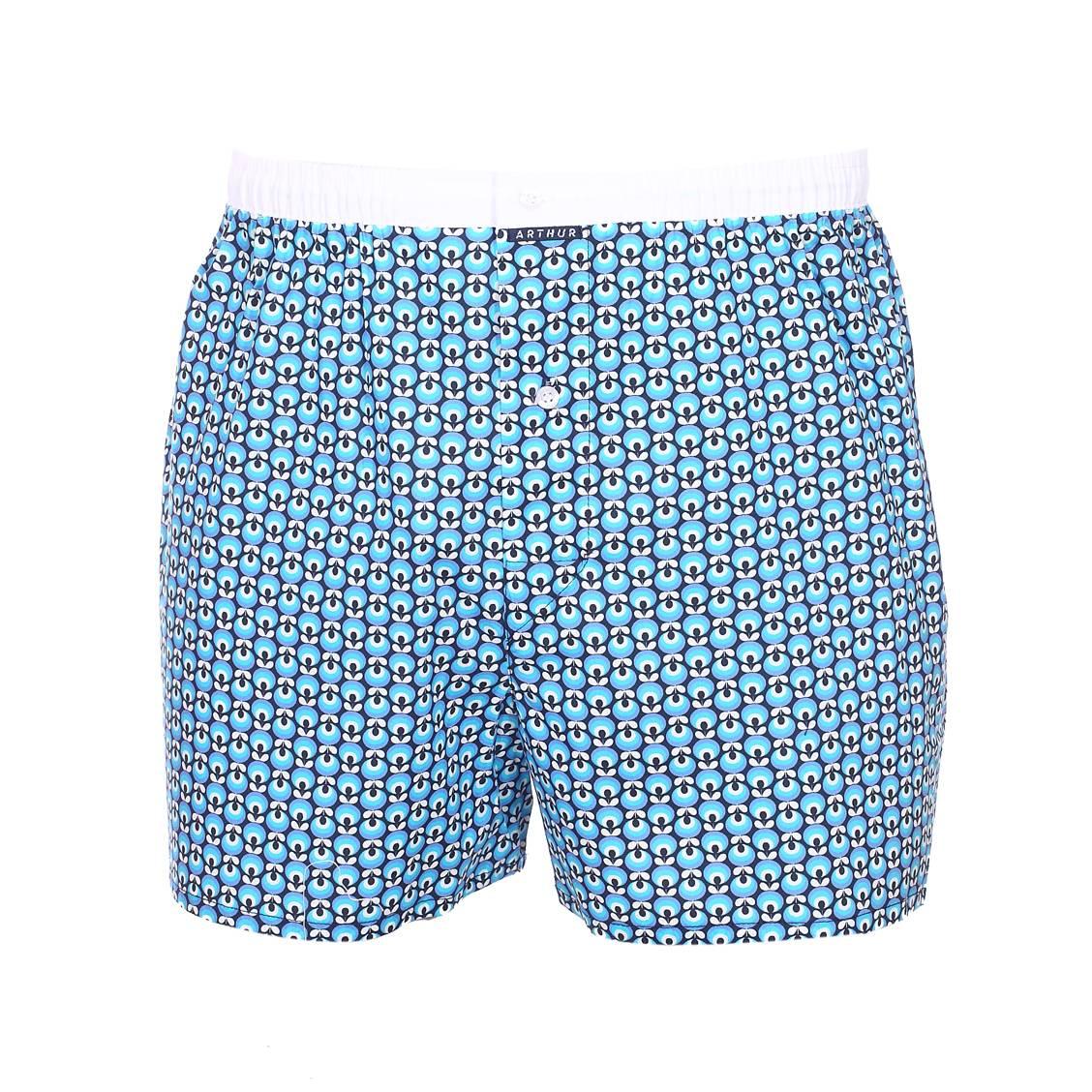 Caleçon  clyhippie bleu marine à motifs bleus et blancs