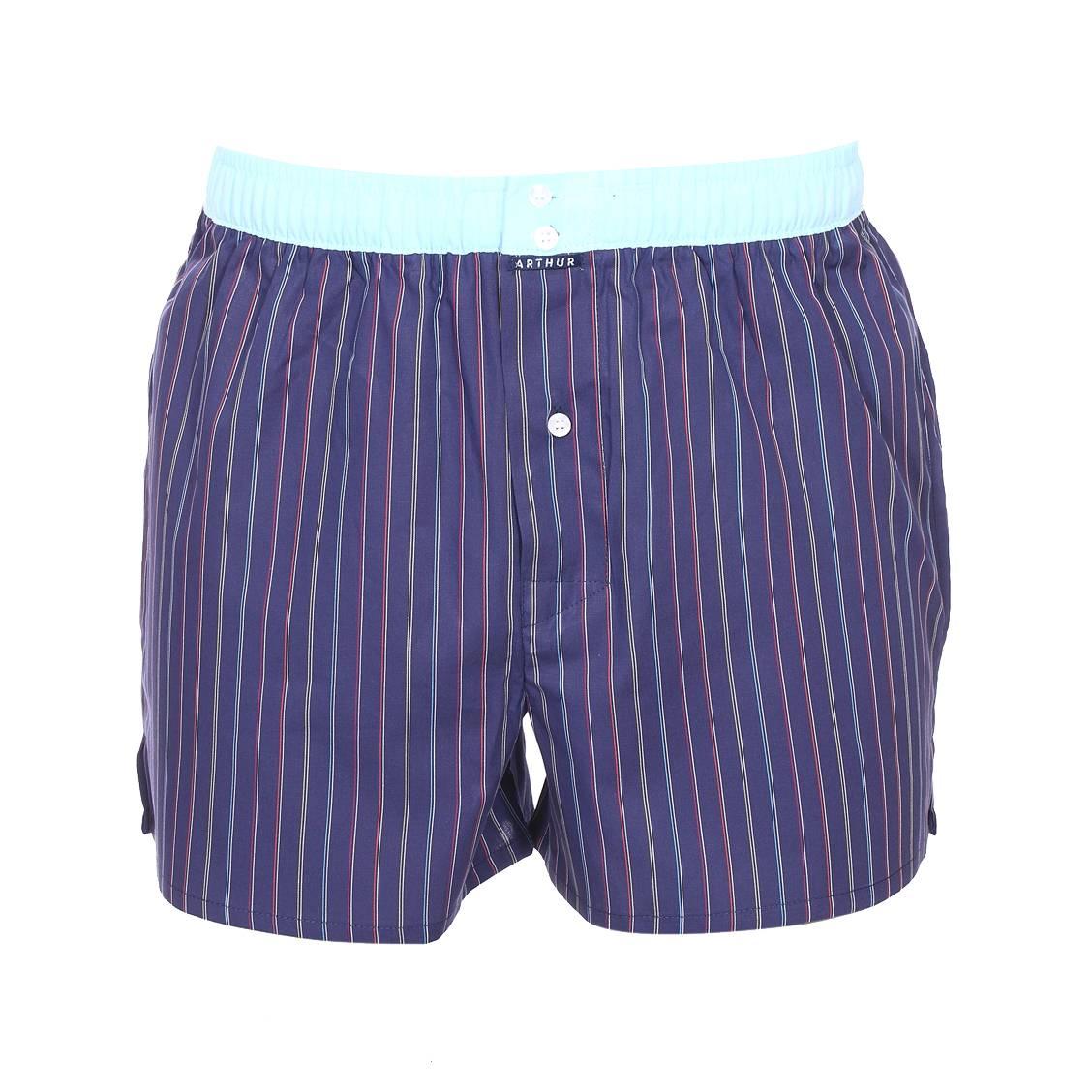 Caleçon  club en coton bleu marine à fines rayures