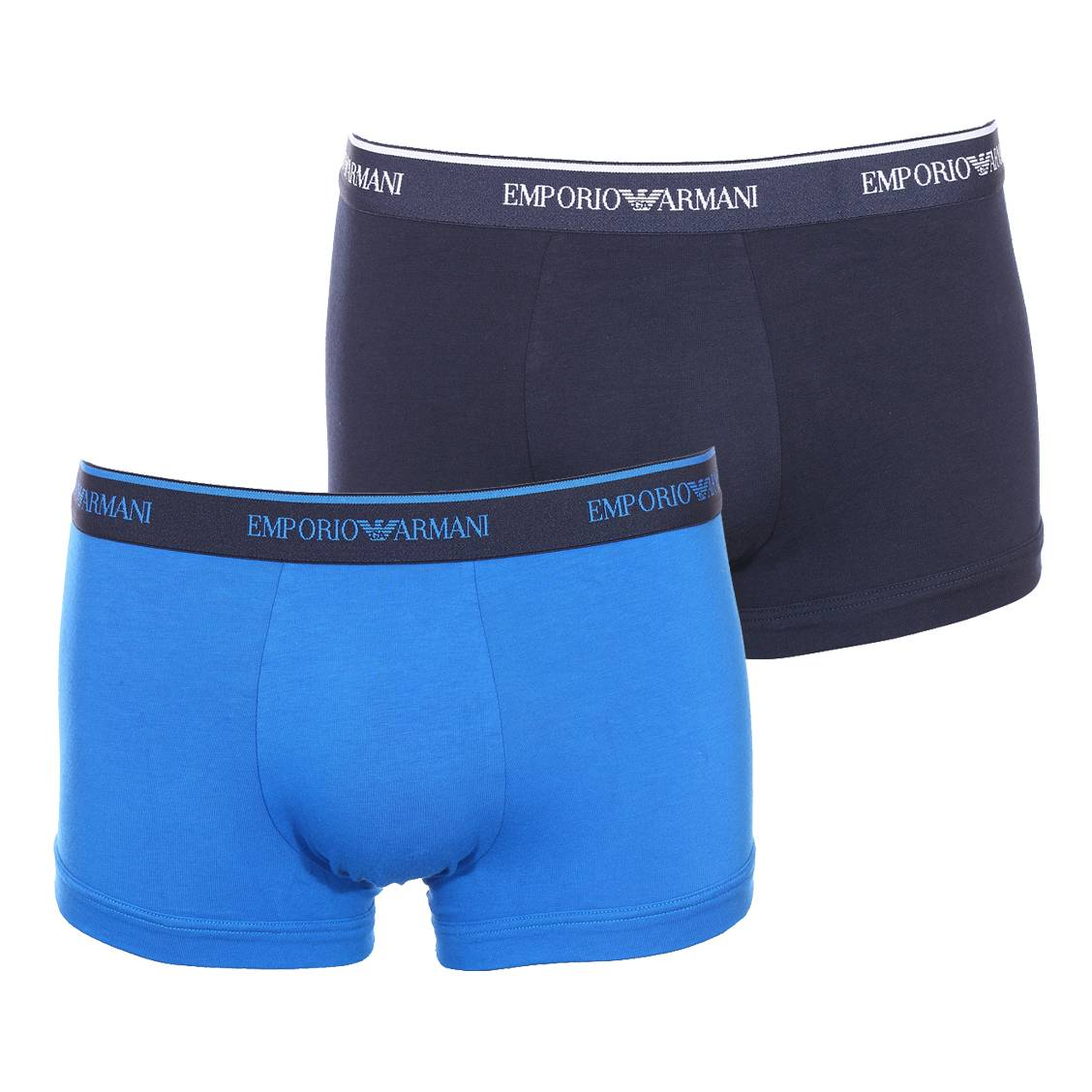 Lot 2 boxers  en coton stretch bleu marine et bleu roi