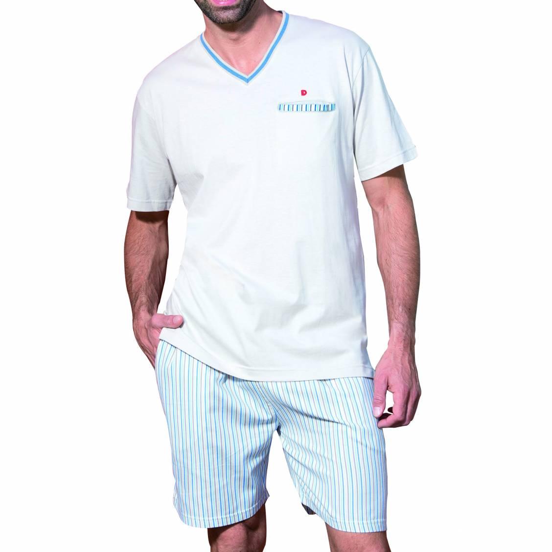 6fb6e0b2edd90 Pyjama court Dodo en coton   tee-shirt col V beige, short beige à ...
