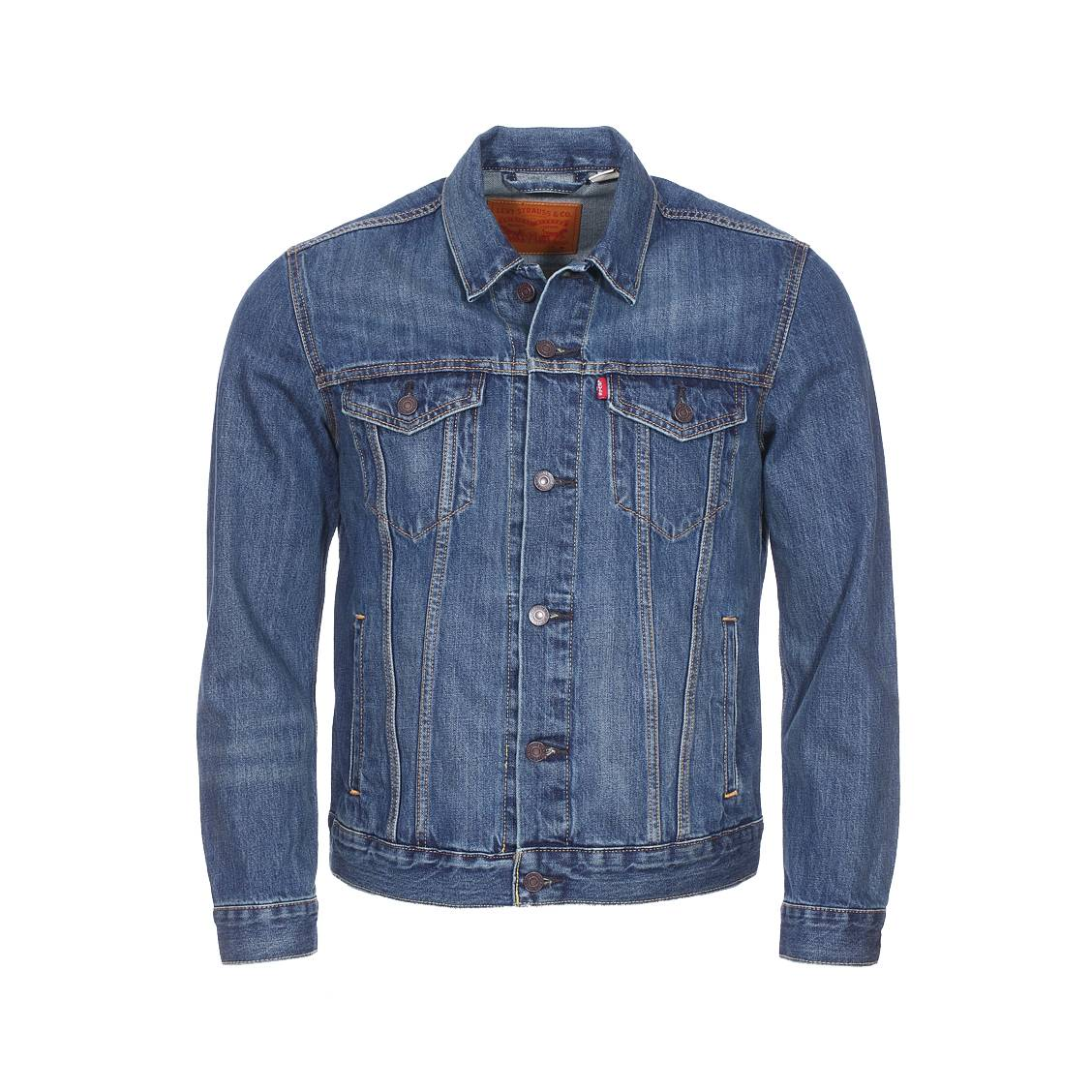 veste levi 39 s trucker the shelf en jean bleu brut rue des hommes. Black Bedroom Furniture Sets. Home Design Ideas