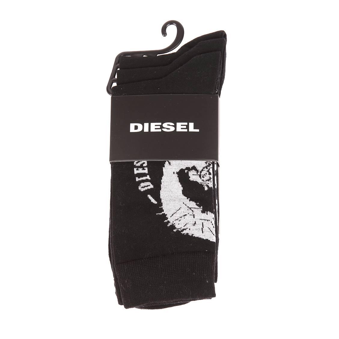 Lot de 3 chaussettes diesel en coton et polyamide stretch noir à motifs