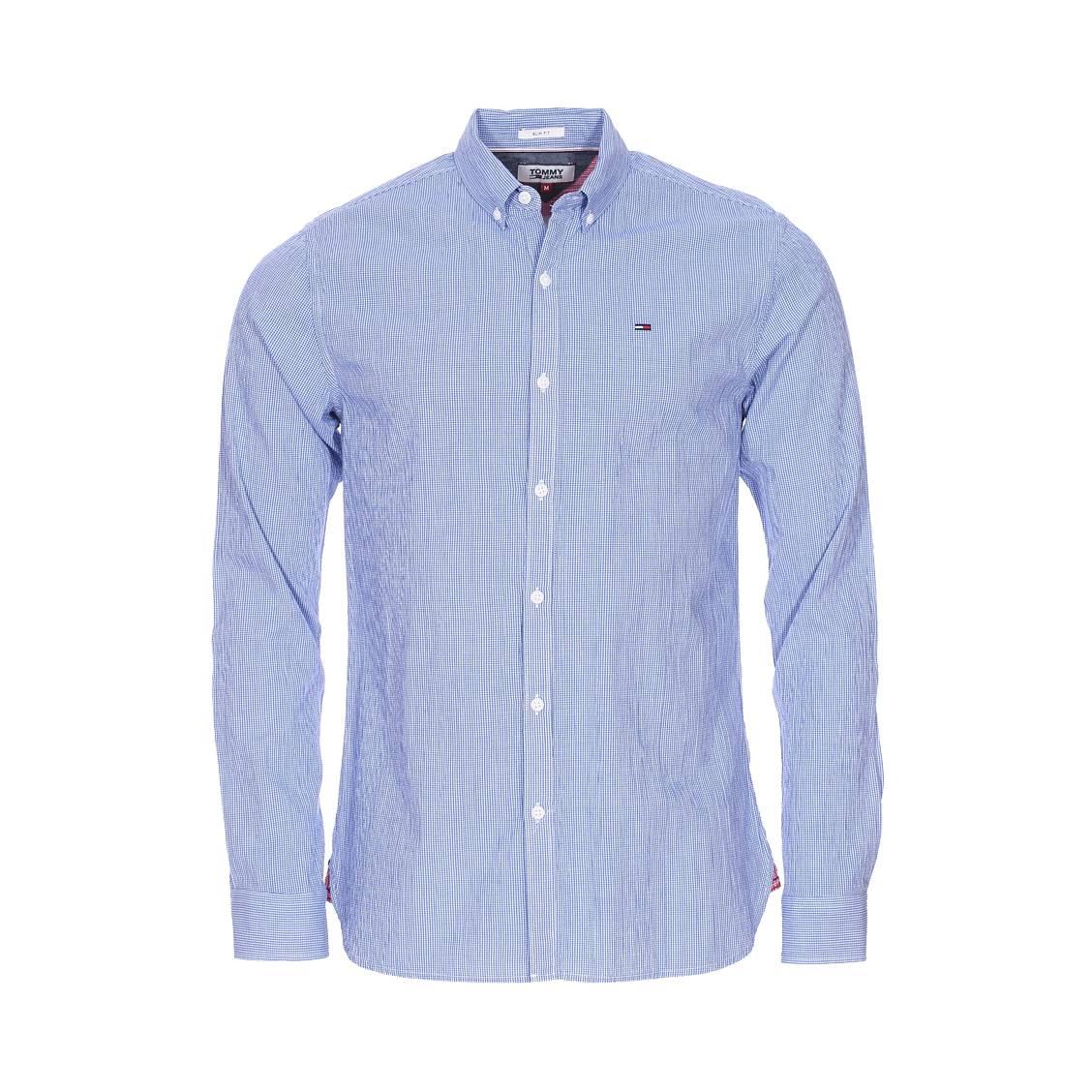 Chemise cintrée Tommy Jeans Essential Seersucker en coton stretch à  carreaux vichy bleus et blancs, ... 26688d225d33