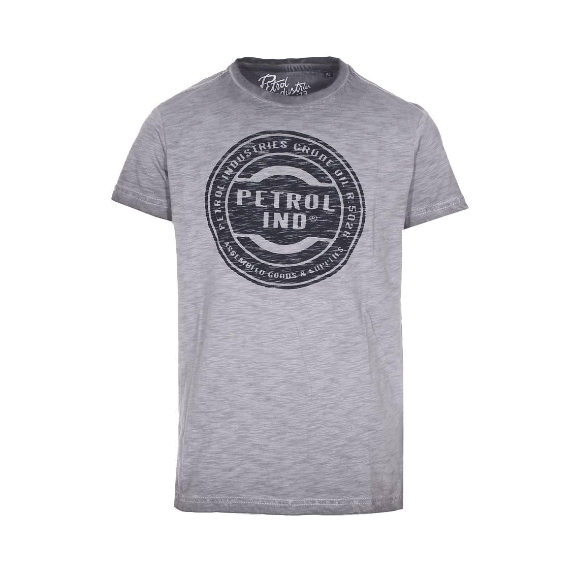 Tee-shirt col rond Petrol industries Junior en coton flammé gris floqué en noir