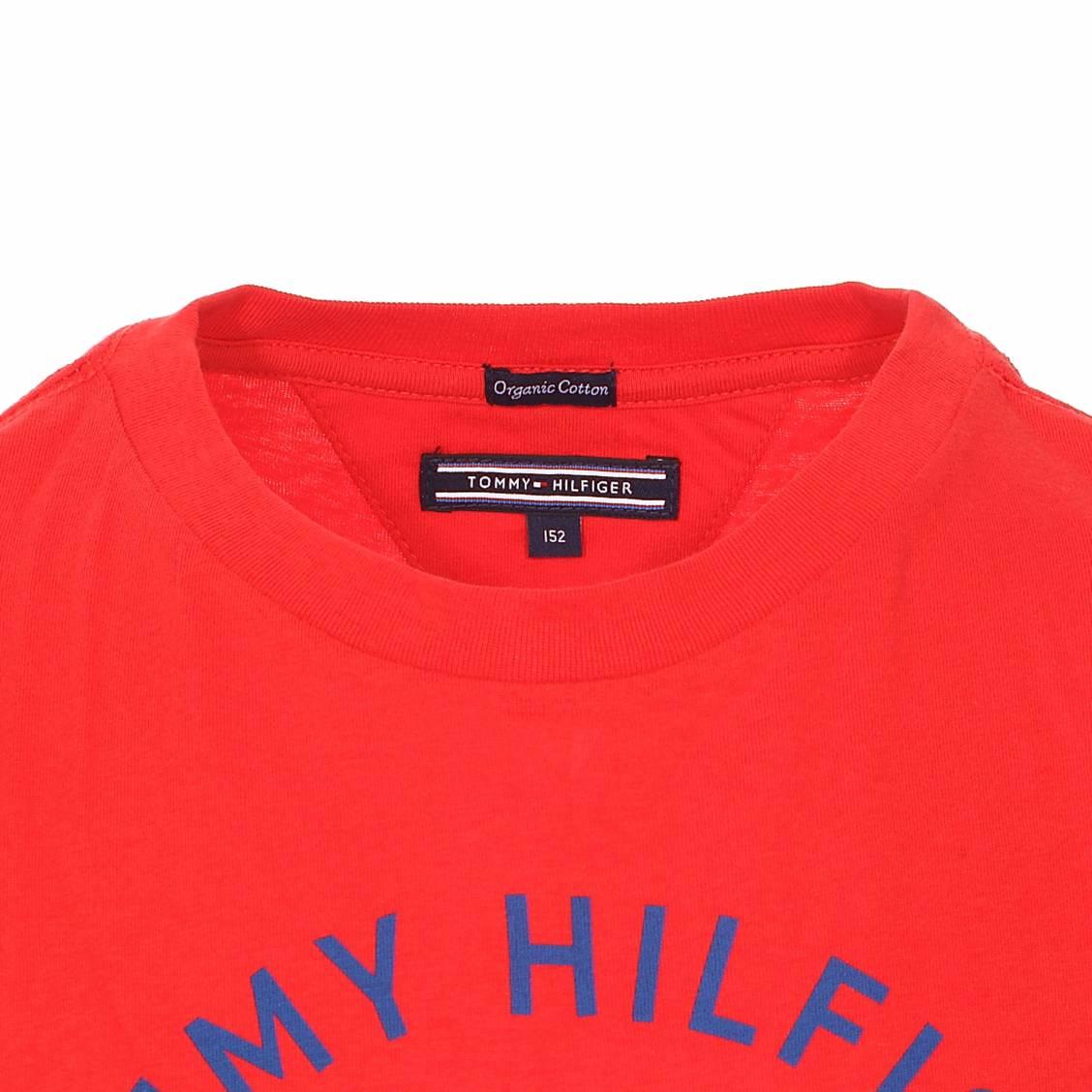 bbdd41fe ... Tee-shirt col rond Tommy Hilfiger Junior Ame Bright Graphic en coton  biologique rouge floqué ...