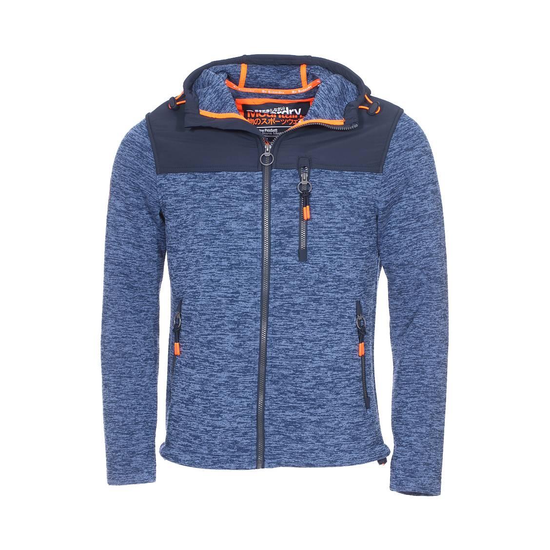 Veste zippée à capuche  storm mountain bleu indigo chiné et bleu marine