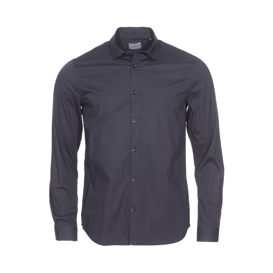 Chemise ajustée  en coton stretch noir